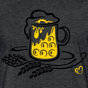 Beer glass with hops, cereals and heart - Fitted Cotton/Poly T-Shirt by Next Level