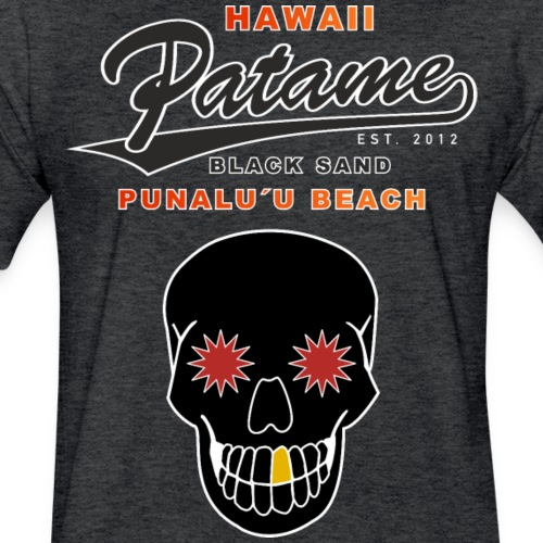 Patame Black Sand Beach with Skull - Fitted Cotton/Poly T-Shirt by Next Level