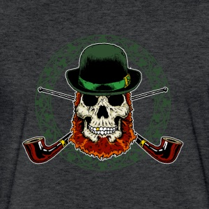 Leprechaun Skull with Crossed Pipes - Fitted Cotton/Poly T-Shirt by Next Level