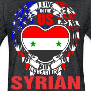 I Live In The Us But My Heart Is In Syrian - Fitted Cotton/Poly T-Shirt by Next Level