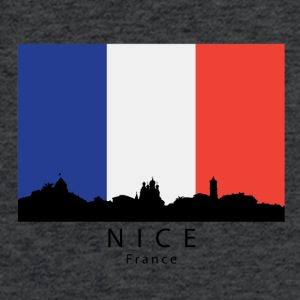 Nice France Skyline French Flag - Fitted Cotton/Poly T-Shirt by Next Level
