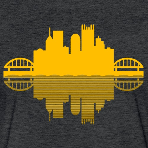 Pittsburgh Skyline Reflection (Gold) - Fitted Cotton/Poly T-Shirt by Next Level