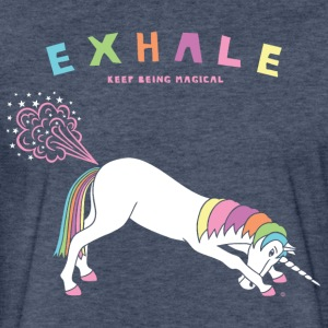 Down Dog Unicorn Exhale - Fitted Cotton/Poly T-Shirt by Next Level