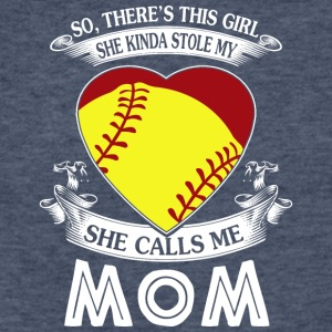 She Kinda Stole My Heart Softball Mom T Shirt - Fitted Cotton/Poly T-Shirt by Next Level