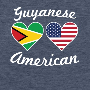 Guyanese American Flag Hearts - Fitted Cotton/Poly T-Shirt by Next Level