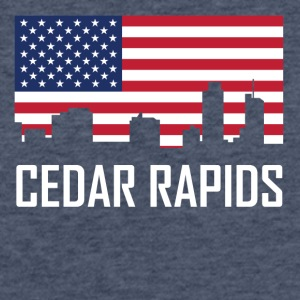 Cedar Rapids Iowa Skyline American Flag - Fitted Cotton/Poly T-Shirt by Next Level