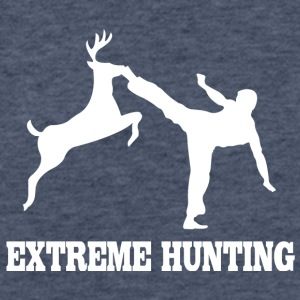 Extreme hunting deer karate kick - Fitted Cotton/Poly T-Shirt by Next Level