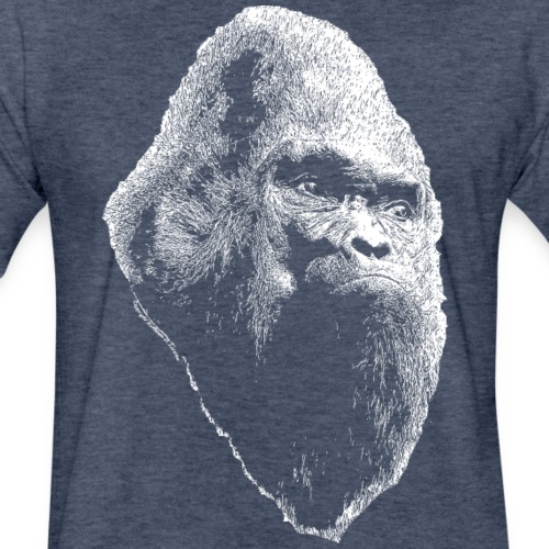 Sasquatch Bigfoot Portrait White Print Shirt - Fitted Cotton/Poly T-Shirt by Next Level