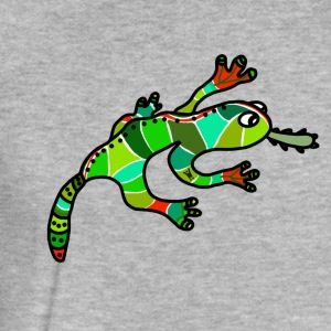 Nice gecko lizard ethno green red exotic tropical - Fitted Cotton/Poly T-Shirt by Next Level