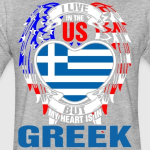 I Live In The Us But My Heart Is In Greek - Fitted Cotton/Poly T-Shirt by Next Level