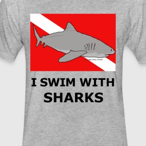 Shark Diver - Fitted Cotton/Poly T-Shirt by Next Level