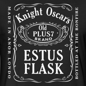 Knight Oscar's Estus Flask Label Design - Fitted Cotton/Poly T-Shirt by Next Level