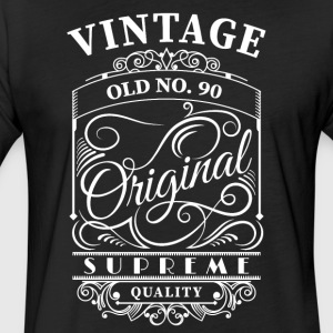 vintage old no 90 - Fitted Cotton/Poly T-Shirt by Next Level