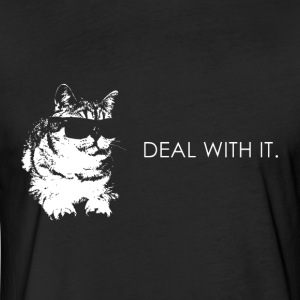 Deal with it funny cat - Fitted Cotton/Poly T-Shirt by Next Level