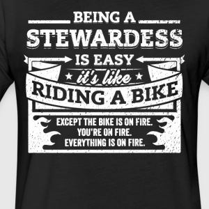 Stewardess Shirt: Being A Stewardess Is Easy - Fitted Cotton/Poly T-Shirt by Next Level