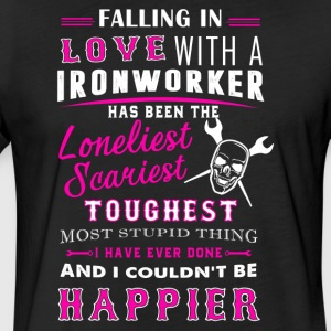Fall In Love With Ironworker Shirt - Fitted Cotton/Poly T-Shirt by Next Level