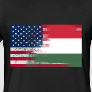 Hungarian American Half Hungary Half America Flag - Fitted Cotton/Poly T-Shirt by Next Level