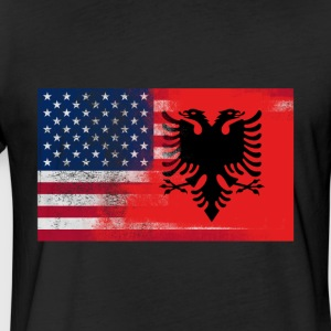 Albanian American Half Albania Half America Flag - Fitted Cotton/Poly T-Shirt by Next Level