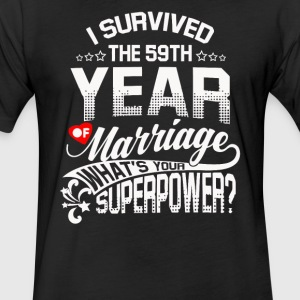 Anniversary Gift 59th 59 Years Wedding Marriage - Fitted Cotton/Poly T-Shirt by Next Level