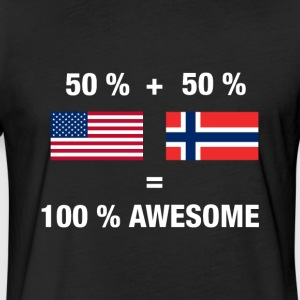 Norwegian American Half Norway Half America Flag - Fitted Cotton/Poly T-Shirt by Next Level