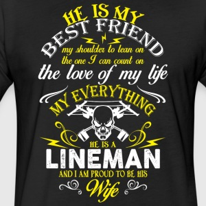 He Is A Lineman T Shirt - Fitted Cotton/Poly T-Shirt by Next Level