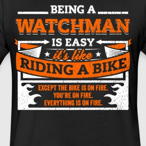 Watchman Shirt: Being A Watchman Is Easy - Fitted Cotton/Poly T-Shirt by Next Level