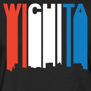 Red White And Blue Wichita Kansas Skyline - Fitted Cotton/Poly T-Shirt by Next Level