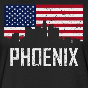 Phoenix Arizona Skyline American Flag Distressed - Fitted Cotton/Poly T-Shirt by Next Level