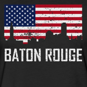 Baton Rouge Louisiana Skyline American Flag - Fitted Cotton/Poly T-Shirt by Next Level