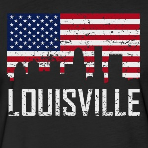 Louisville Kentucky Skyline American Flag - Fitted Cotton/Poly T-Shirt by Next Level