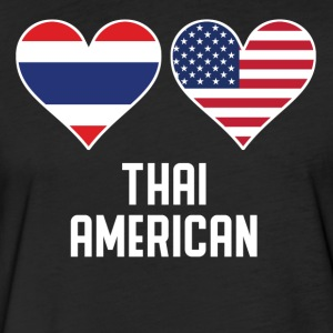 Thai American Heart Flags - Fitted Cotton/Poly T-Shirt by Next Level