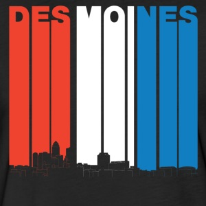 Red White And Blue Des Moines Iowa Skyline - Fitted Cotton/Poly T-Shirt by Next Level