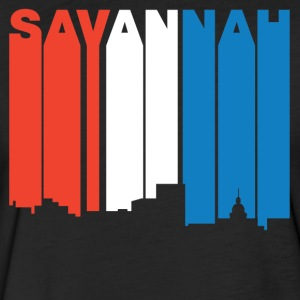Red White And Blue Savannah Georgia Skyline - Fitted Cotton/Poly T-Shirt by Next Level