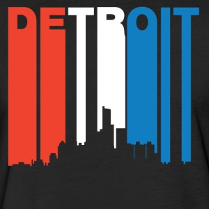 Red White And Blue Detroit Michigan Skyline - Fitted Cotton/Poly T-Shirt by Next Level