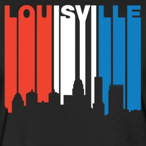 Red White And Blue Louisville Kentucky Skyline - Fitted Cotton/Poly T-Shirt by Next Level