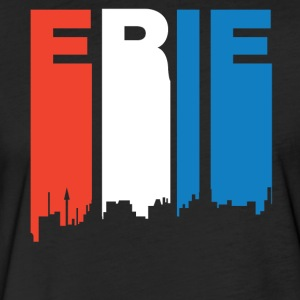 Red White And Blue Erie Pennsylvania Skyline - Fitted Cotton/Poly T-Shirt by Next Level