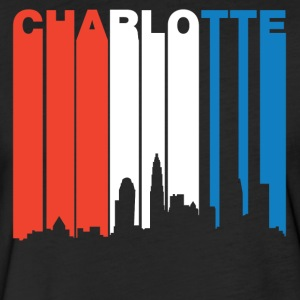 Red White Blue Charlotte North Carolina Skyline - Fitted Cotton/Poly T-Shirt by Next Level