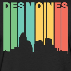 Retro 1970's Style Des Moines Iowa Skyline - Fitted Cotton/Poly T-Shirt by Next Level