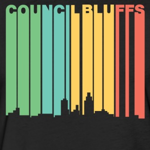 Retro 1970's Style Council Bluffs Iowa Skyline - Fitted Cotton/Poly T-Shirt by Next Level