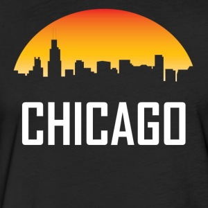Chicago Illinois Sunset Skyline - Fitted Cotton/Poly T-Shirt by Next Level