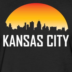 Kansas City Missouri Sunset Skyline - Fitted Cotton/Poly T-Shirt by Next Level