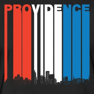Red White Blue Providence Rhode Island Skyline - Fitted Cotton/Poly T-Shirt by Next Level