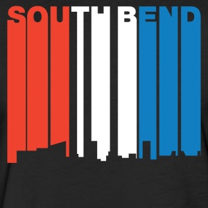 Red White And Blue South Bend Indiana Skyline - Fitted Cotton/Poly T-Shirt by Next Level