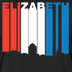 Red White And Blue Elizabeth New Jersey Skyline - Fitted Cotton/Poly T-Shirt by Next Level