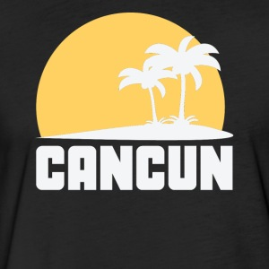 Cancun Mexico Sunset Palm Trees Beach - Fitted Cotton/Poly T-Shirt by Next Level