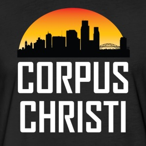 Sunset Skyline Silhouette of Corpus Christi TX - Fitted Cotton/Poly T-Shirt by Next Level