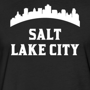 Vintage Style Skyline Of Salt Lake City UT - Fitted Cotton/Poly T-Shirt by Next Level