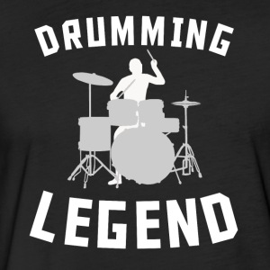 Drumming Legend Cool Drummer Silhouette Music - Fitted Cotton/Poly T-Shirt by Next Level