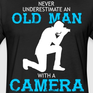 Old Man With A Camera T Shirt - Fitted Cotton/Poly T-Shirt by Next Level