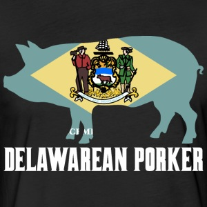 Delawarean Porker State Flag Pig Pork BBQ - Fitted Cotton/Poly T-Shirt by Next Level